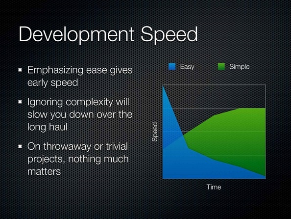 Slide from R. Hickey's Simple Made Easy presentation showing that 'easy' gives an initial speed boost that slows down whereas 'simple' starts slow and increases your velocity